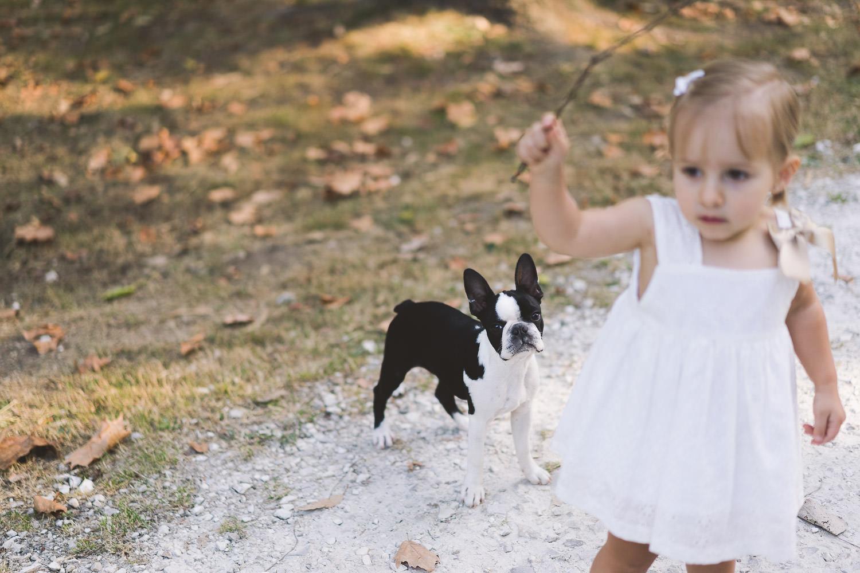 la hija y el perro jugando con un palo